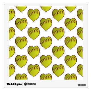 Love Softball Pattern Wall Decal