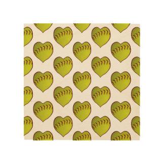 Love Softball Pattern Wood Prints