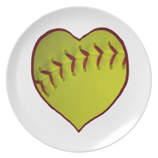 Love Softball Dinner Plates