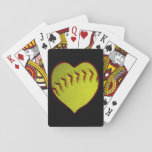 "Love Softball Playing Cards<br><div class=""desc"">A softball in neon yellow in a heart shape for those who love their softball.</div>"