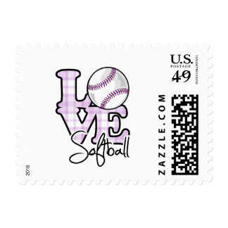 Love Softball Postage Stamp