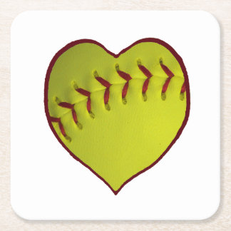 Love Softball Square Paper Coaster