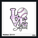 "Love Softball Wall Sticker<br><div class=""desc"">You will love this cute,  purple design.  Great gift for a girly girl that loves softball or baseball  !  Available on a variety of cool & funny products that are perfect for gifts!</div>"