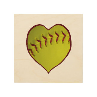 Love Softball Wood Canvases