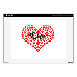 love solid red paw heart skins for laptops