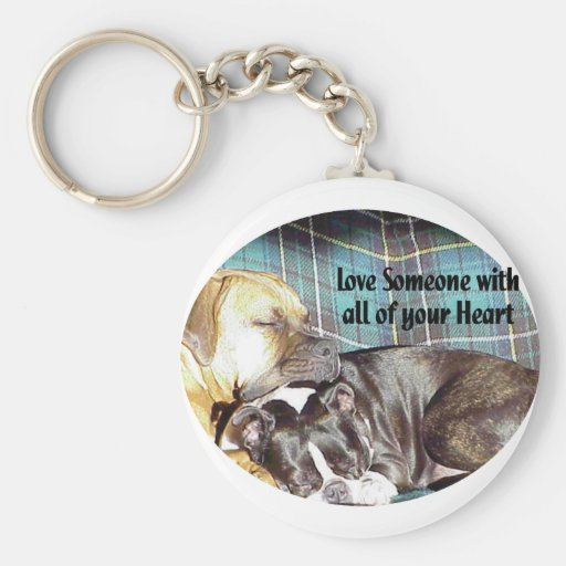 Love Someone with all of your Heart Basic Round Button Keychain