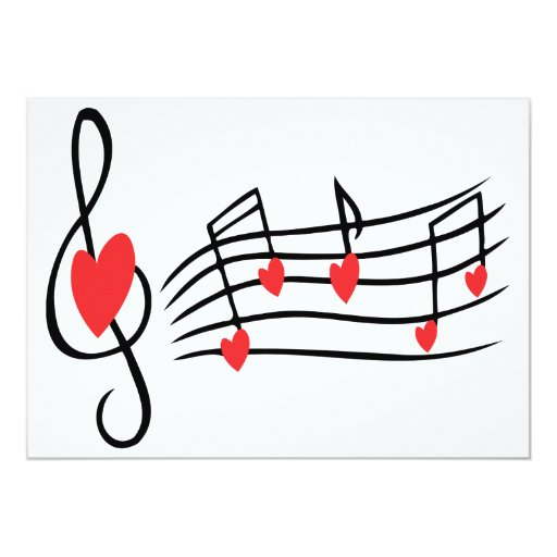 LOVE SONG MUSIC NOTES CUTE RED BLACK WHITE FRIENDS 5X7 PAPER INVITATION CARD