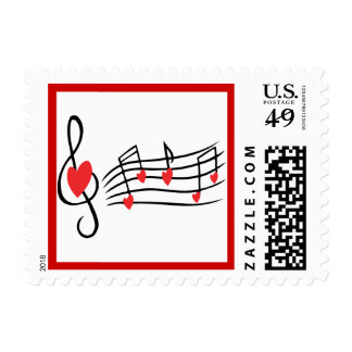LOVE SONG MUSIC NOTES CUTE RED BLACK WHITE FRIENDS POSTAGE
