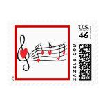LOVE SONG MUSIC NOTES CUTE RED BLACK WHITE FRIENDS STAMP