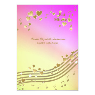 Love Songs Bat Mitzvah 5x7 Paper Invitation Card
