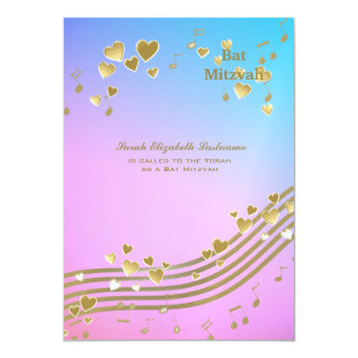 Love Songs Bat Mitzvah 5x7 Paper Invitation Card