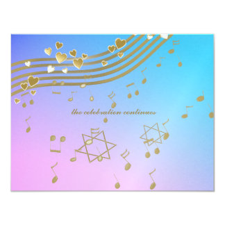 "Love Songs Bat Mitzvah Reception Card 4.25"" X 5.5"" Invitation Card"
