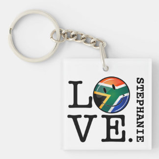 Love South Africa Smiling Flag Single-Sided Square Acrylic Keychain