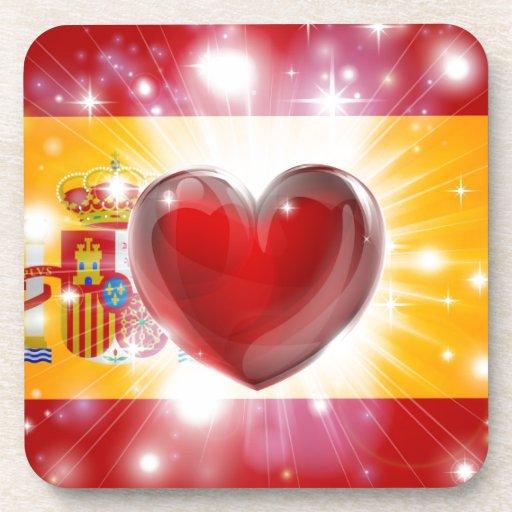 Love Spain flag heart background Coasters