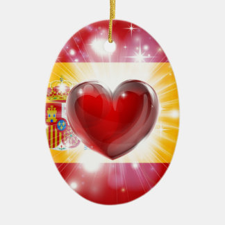 Love Spain flag heart background Christmas Ornament