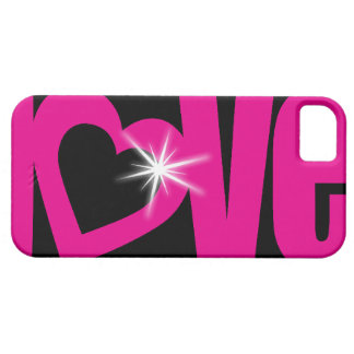 """love"" sparkle pink & black iphone 5 case"