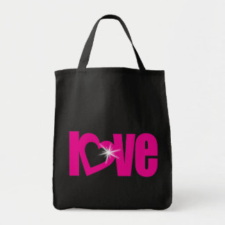 Love sparkle pink & black tote bag
