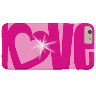 Love sparkle pink typographic heart case barely there iPhone 6 plus case