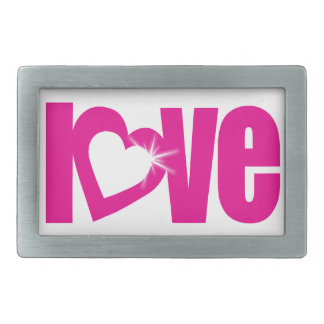 """love"" sparkle white pink heart text belt buckle"