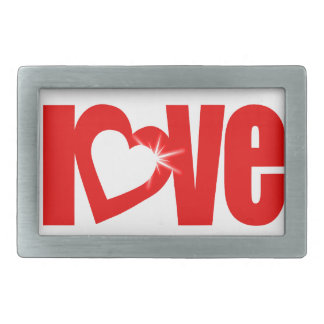 """love"" sparkle white red heart text belt buckle"