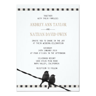 Love - Sparrow Pair B&W Photo Love Quote Wedding Card