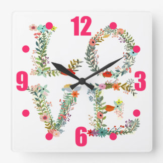 LOVE Spelled Out in Flowers Square Wall Clock