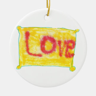 Love Spray on Yellow Double-Sided Ceramic Round Christmas Ornament