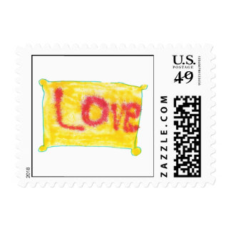 Love Spray on Yellow Postage Stamp