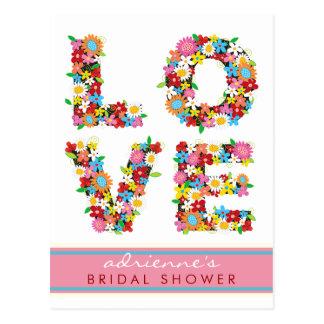LOVE Spring Flowers Bridal Shower Wedding Postcard