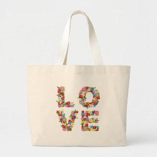 LOVE Spring Flowers Colorful Custom Gift Tote Bag