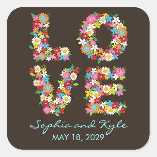 LOVE Spring Flowers Garden Chic Wedding Sticker