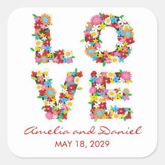 LOVE Spring Flowers Garden Chic Wedding Stickers