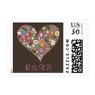 Love Spring Flowers Heart Chic Wedding RSVP Stamps