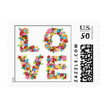 LOVE Spring Flowers Whimsical Bridal Shower Stamps