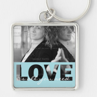 Love Square Metal Photo Keychain (Large) | Cut Out