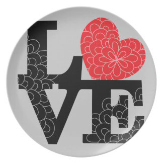 Love Squared Floral Imprint Dinner Plate