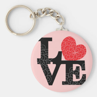 Love Squared Floral Imprint Basic Round Button Keychain