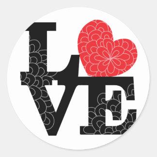 Love Squared Floral Imprint Classic Round Sticker
