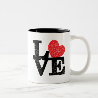 Love Squared Floral Imprint Two-Tone Coffee Mug