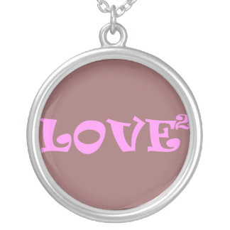 Love Squared in Pink Round Pendant Necklace