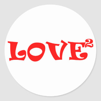 Love Squared in Red Classic Round Sticker