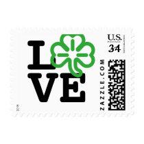 Love St Patricks Day Green Shamrock Irish Clover Postage