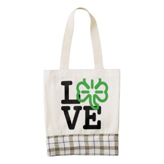Love St Patricks Day Green Shamrock Irish Clover Zazzle HEART Tote Bag