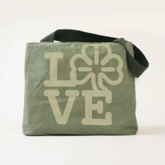 Love St Patricks Day Shamrock Irish Clover Green Tote