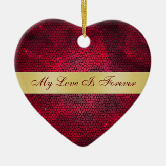 Love Stained Glass Valentines Day Heart Ornament
