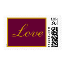 Love Stamp Wine and Gold With Border