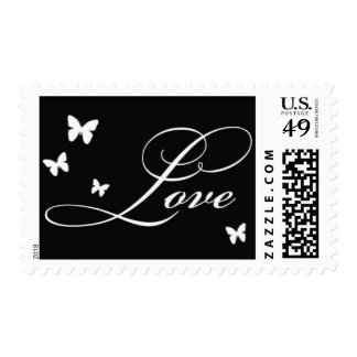 Love stamp with butterflies