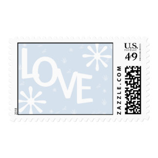 Love Stamp with White Snow Flakes