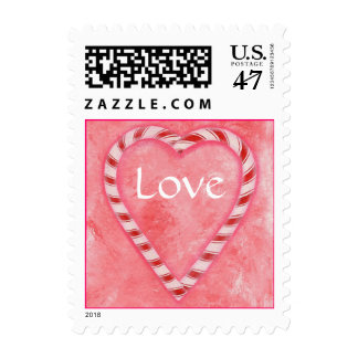 Love stamps, Candy Cane heart on pink Postage