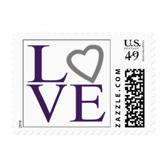 Love Stamps Plum And Gray Wedding Postage